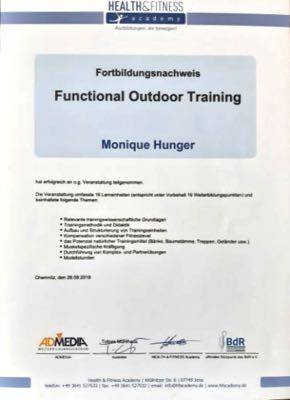 Fortbildungsnachweis für Functional Outdoor Training - Monique Hunger